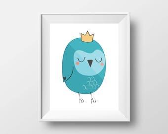 Baby owl owlet,  printable wall art