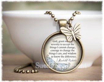 Serenity Prayer Necklace • Inspirational Jewelry • God Grant Me the Serenity • AA Jewelry • Sobriety Necklace • Recovery