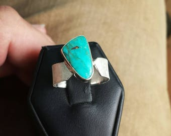 Turquoise sterling silver ring size 8