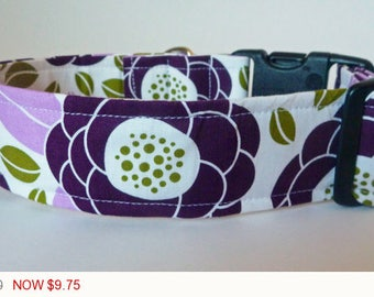 "Sale - 50% Off - Floral Dog Collar - Plum, Lavendar & Dark Chartuse-""Blooms""-Free Colored Buckles"