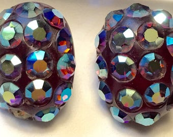 Vintage Purple Lucite and Iridescent Rhinestone Clip On Earrings
