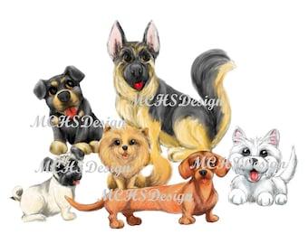 Dog digital art, dog clip art, dog art png, dog wall art, instant download dog print, dog lover gift, dog digital wall art