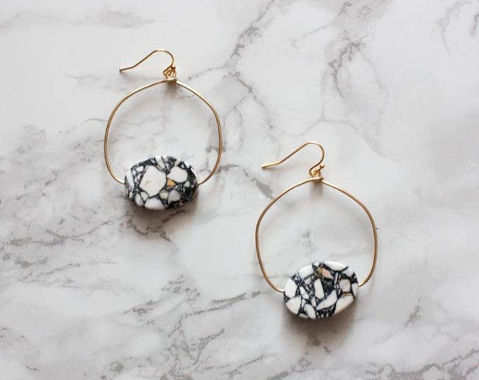 White & Navy Blue Gemstone Hoop Earrings