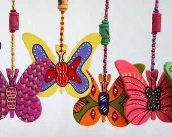 Multicolored butterflies 6 painted wooden and glass beads hanging,