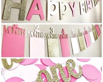 First Birthday Banner, First Year Photo Banner, 1st Birthday Photo Banner, First birthday Decor, 1 year old party, 1 year old party Decor