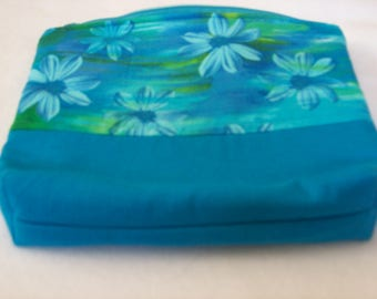 Quilted zippered pouch, cosmetic pouch, accessory pouch, flowered pouch, bag, makeup bag, accessory bag, butterfly bag