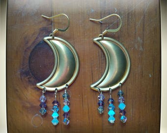 Mystic Moon - Brass and 14kt Goldfilled Earrings - Swarovski Crystal - Boho Witchy Luna Magick - Reiki Charged - Positive Energy