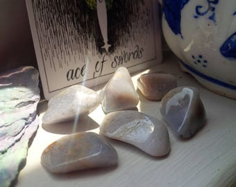 Lot of 6 pcs Chalcedony Crystals Tumbled Stones Reiki Charged Healing Communication Speaking Brotherhood Peace Goodwill Harmony Meditation
