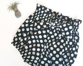 Black And White High Waisted Polka Dot Bloomers to Fit 12 - 18 months Ready to Ship
