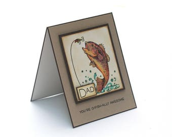 Rainbow trout fish masculine card for dad, father, fishing, fisherman blank birthday card for him