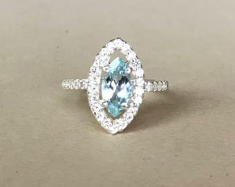 Marquise Aquamarine Engagement Ring- Aquamarine Promise Ring- Halo Blue Aquamarine Ring- March Birthstone Ring- Something Blue Ring