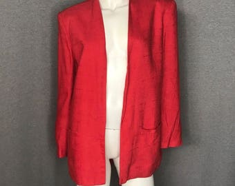 CHRISTIAN DIOR Red Linen Jacket Size: 8