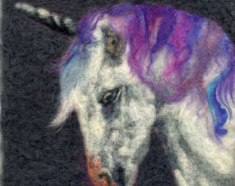 Needle felted unicorn print