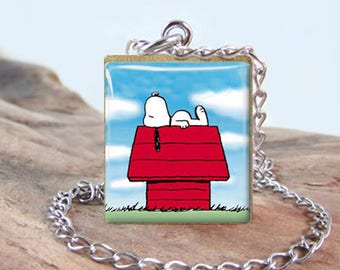 Snoopy 3 Peanuts Stainless Scrabble Jewelry - Choose Letter, Pendant or Necklace - Stainless Chain & Findings - Snoopy Jewelry - Gift Idea