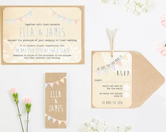 Lace Burlap and Bunting Wedding Invitation Bundle - pastel