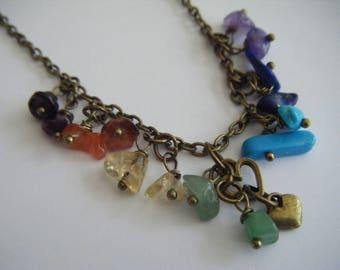 Spiritual Inspirational Healing Chakra Beads Heart Choker Necklace Yoga Meditation Wellness Oneness Cosmic Gemstone Crystals Eco Beads