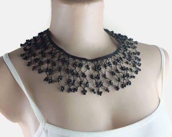Statement Bead Crochet Necklace, black Choker, Beadwork Turkish oya, Lace crochet Jewelry, Gift for Her