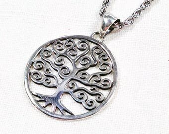 Tree of Life Necklace Klimt-Inspired Spiral Tree In Sterling Silver Handmade Jewelry By NorthCoastCottage Jewelry Design & Vintage Treasures