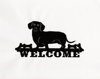 Dachshund Sign, Dachshund Art, Welcome Sign, Porch Sign, Wiener Dog Gifts, Dachshund Gift, Metal Welcome Sign, Dog Welcome Sign