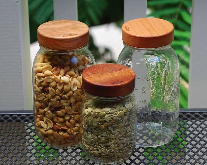 Regular Mouth (3) Wooden Mason Jar Lids with Seal -  True screw top - Your Choice of Wood