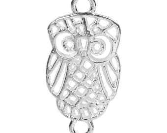 5 connectors owls owls metal 27 x 14 mm, Ideal for making necklace, earrings, diy etc.