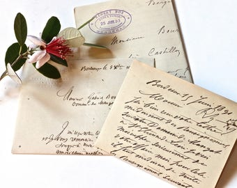3 old french handwritten letters - 1890 -1891