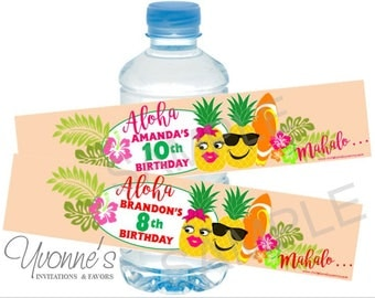 Luau Pineapple Water Bottle Label/Wrappers- Tropical Hawaiian Birthday, Destination Wedding, Summer Party, Pool Party, Summer End of School