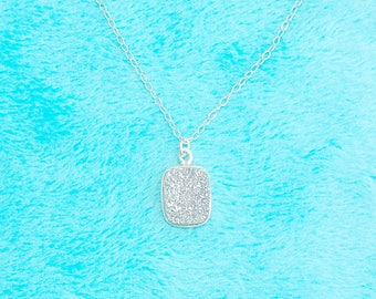 Silver Druzy on Sterling Silver Chain