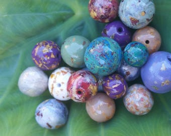 Custom Keepsake / Memorial Beads made from your Flower Petals or Pet fur or Cremains - ROUND