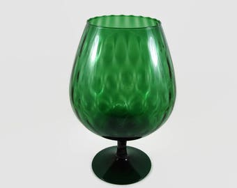 "Forest Green 12"" Brandy Snifter Vase, Empoli Diamond Optic Pedestal Balloon Fish Bowl Vase"