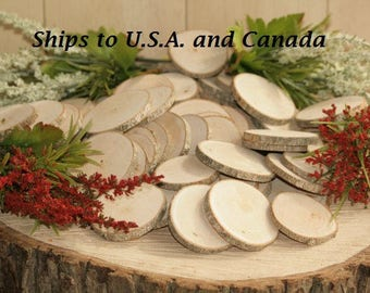 """Ships To CANADA: Wood Name Tags-300 Quantity 2-3""""  -COMPLETELY Dried and Sanded Wood Tree Slice- Name Tags-Woodland  Wedding-Free Drilling"""