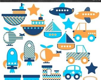 50% OFF Transportation Clipart - Orange and Blue - Instant Download