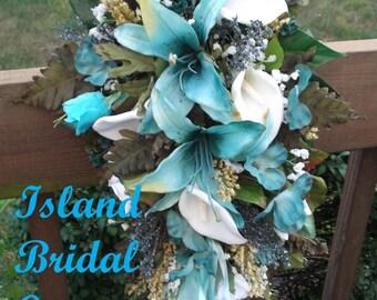 Silk Wedding Flower Bouquet Set 2 Piece Set.  Lily, White, Turquoise