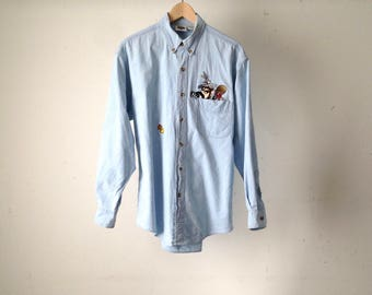 looney tunes 90s chambray DENIM shirt button up oxford classic basic blouse