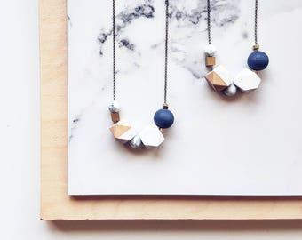 Evie Necklace   Geometric Beads   Blue & White
