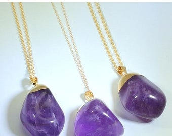 10% off SALE Amethyst Necklace Amethyst Jewelry on 14K Gold Fill Chain February Birthstone Boho Chic Healing Crystals and Stones Gold T
