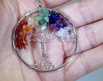 10% off CIJ SALE Tree of Life Necklace, Tree of Life Jewelry, Healing Crystal and Stones, Tree of Life of Pendant, Chakra Jewelry, Chakra Ne