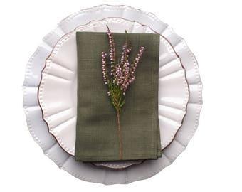 Moss green Napkins - green linen napkins - green cloth napkins - green napkins - linen table napkins - GREEN dinner napkins - cloth napkins