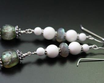 Long Basha bead earrings labradorite and white shell earrings beach boho dangle earrings summer fun festival earrings sterling earrings