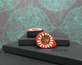 Floral Polymer Teardrop Bead - Red Black Bronze Ivory - Bohemian Floral Teardrop Bead Pair - 18x13mm - Pkg. 2