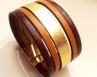 cuff Brown camel leather and gold with gold magnetic clasp