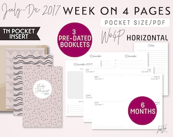POCKET Size TN - July to December 2017 Week on 4 Pages Horizontal - Printable Inserts