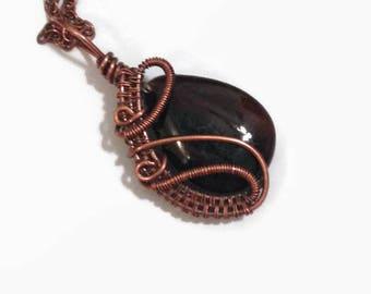 Brown Agate Wire Wrap Copper Necklace Pendant/ Wire Wrap Jewelry/ Copper Jewelry/ Copper Wire Wrap Pendant/