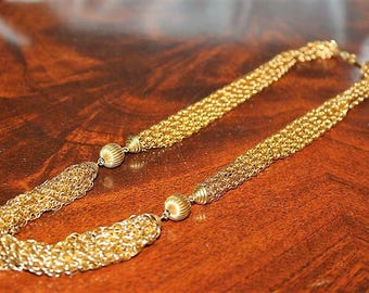 Vintage Designer French Couture High End Multi Strand Textured Gold Tone Necklace NC10