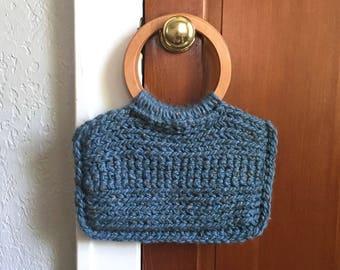 Blue Crochet Tote / Blue Tote Bag / Blue Tweed Tote Bag / Wooden Handle