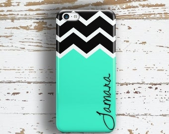 Gifts for friends birthday, Girls iphone 6s case, Chevron iPhone 5c case, Preppy iphone 5 case, Cute iphone 6 case Aqua black chevron (9983P