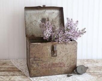 Vintage Large Metal Box, Large Tin Box, Industrial Storage Box, Rustic Home Decor, Vintage Farmhouse, Primitive Tin Box, Fixer Upper Decor