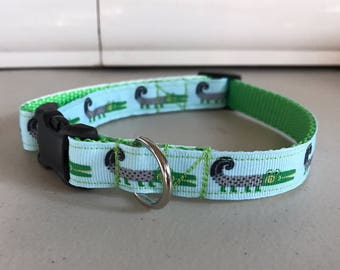 Alligator Dog Collar Green & Blue size small