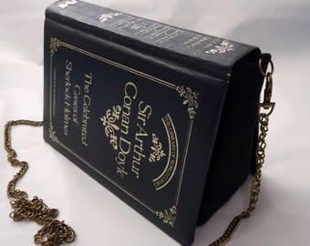 Sherlock Holmes Sir Arthur Conan Doyle Book Purse Navy Blue Bag Clutch - Upcycled Book
