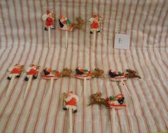 Vintage Christmas Cup Cake/Diorama Plastic Picks-Santa #B